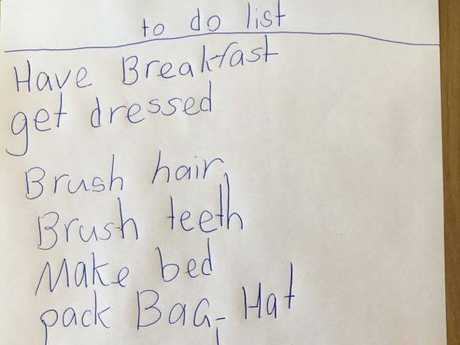 The list Lisa Mayoh wrote with her daughter.