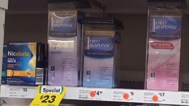 Melbourne woman Ellie Blackwood‎ posted this photo of pregnancy tests at her local Woolworths supermarket.