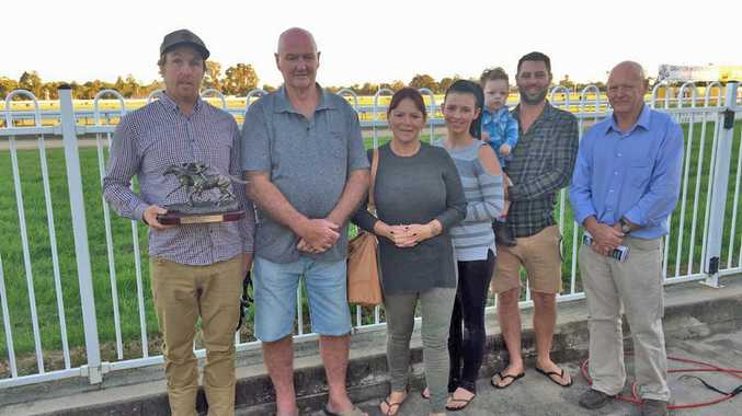 Friends of Warwick Hall present the trophy to Aiden Nunn who trained Brilliant Jet to victory in the In Memory Of Warwick Hall Class 2 Handicap over 1720m at Clarence River Jockey Club on Monday, 29th May, 2017.