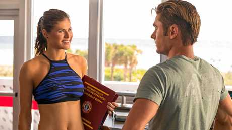 Alexandra Daddario and Zac Efron in a scene from Baywatch.