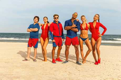 Jon Bass, Alex Daddario, Zac Efron, Dwayne Johnson, Kelly Rohrbach, and Ilfenesh Hadera star in Baywatch.