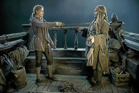 FOR REVIEW AND PREVIEW PURPOSES ONLY. Brenton Thwaites and Johnny Depp in a scene from the movie Pirates of the Caribbean: Dead Men Tell No Tales. Supplied by Disney.