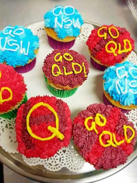 Artisan Gluten Free Bakery's State of Origin themed cupcakes.