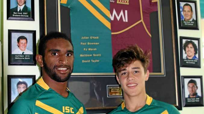 AIMING HIGH: St Brendan's students and First XIII players Jeremiah Naawi and James Busby set their sights high as they celebrate past rugby league stars from the college.