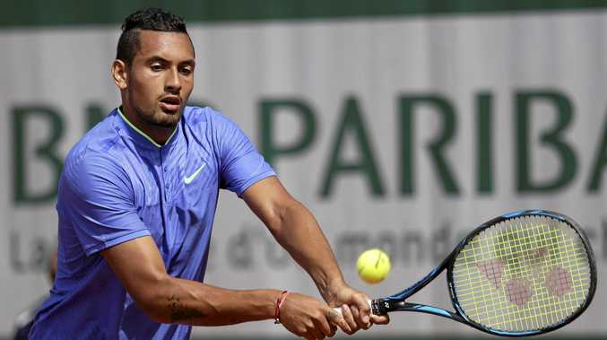 Nick Kyrgios on his way to success over Germany's Philipp Kohlschreiber at the French Open.