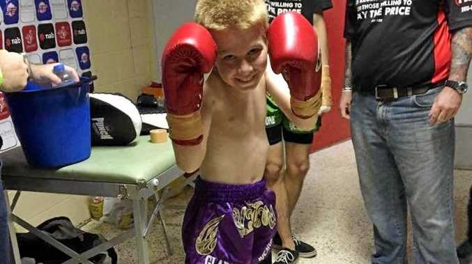 GLOVES UP: Hayden Clement poses before his first kick boxing bout on May 20.