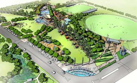 DESTINATION PARK: An digital design impression of Lismore Park, featuring a water park, an events precinct with performance lawn and stage, café, adventure playground,  wetlands and car park, and a signed entrance.