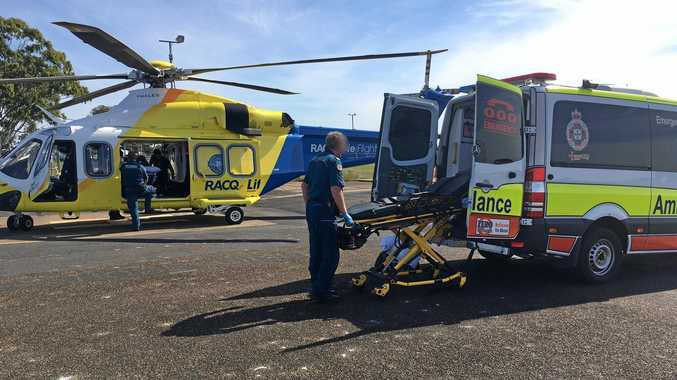 A man was airlifted after falling from a scout camp building roof north of Maryborough earlier today.