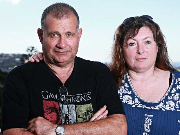 Nick Kriticos and Anita Grahame on their balcony in Dee Why where a drone was caught spying on them. Picture: Adam Yip.