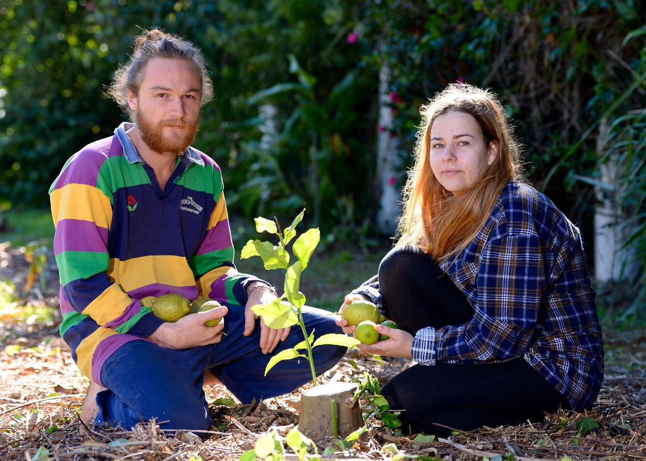 Jessica McMurray and Paul Harris in Clithero Avenue, Buderim, where Sunshine Coast Council crews have demolished the Urban Food Street project.