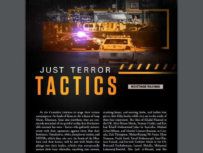 The story on terror tactics is part of the 58-page magazine.Source:Supplied