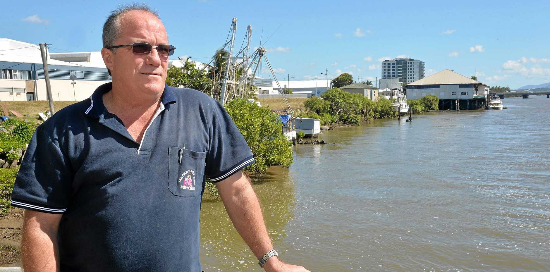 David Caracciolo with the proposed site of The Pier apartments, which was mothballed indefinitely.