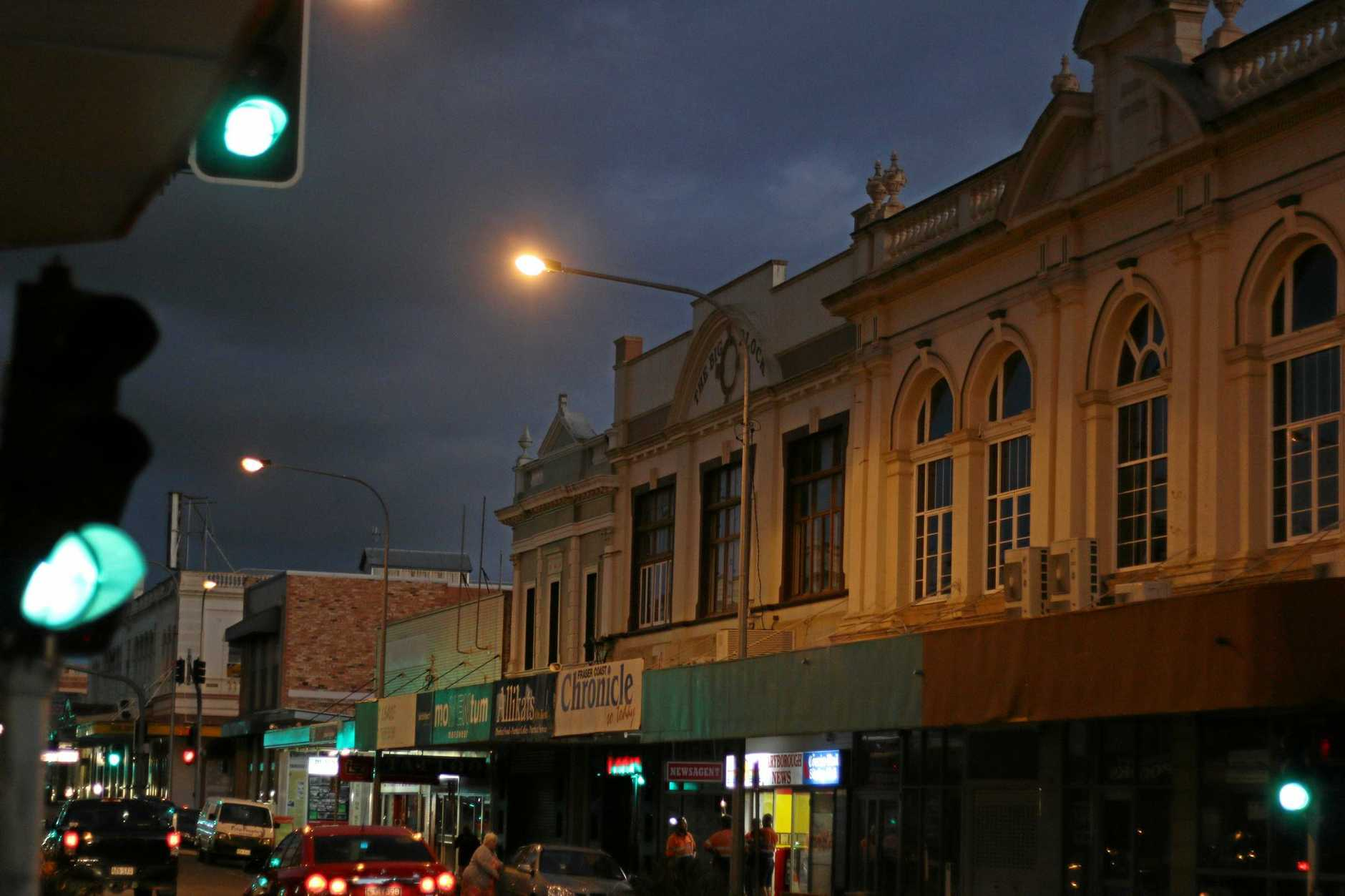 Maryborough at night.