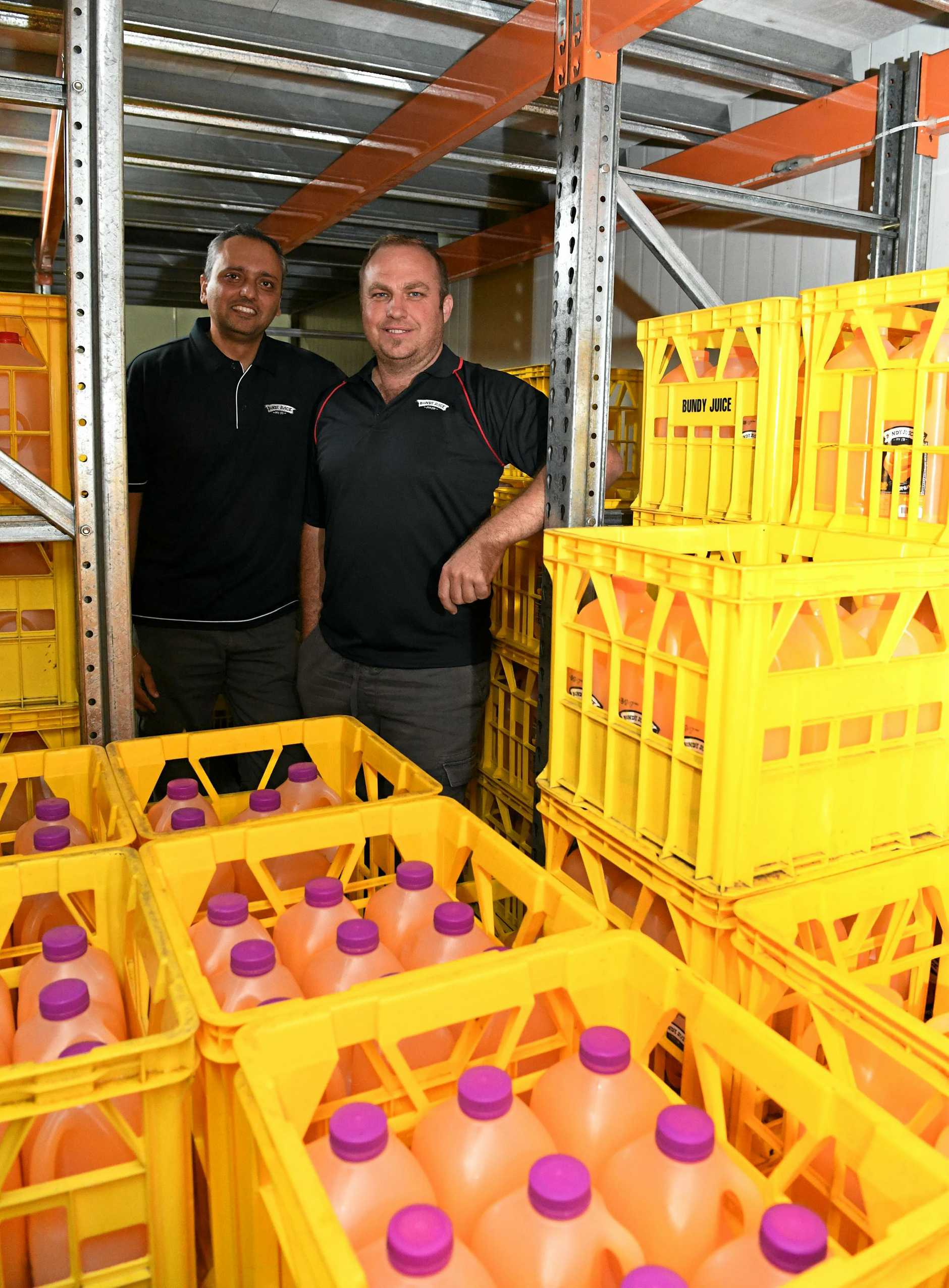 BACK ON TRACK: Bundy Juice's Mark D'Silva and Collin Mann are looking forward to orange supplies returning to normal levels.