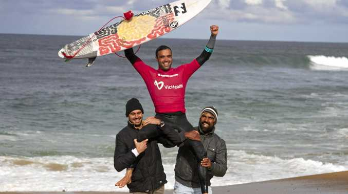 Coffs Harbour surfer Otis Carey is chaired from the Bells Beach surf after winning at the Australian Indigenous Surfing Titles.