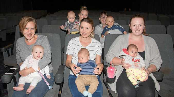 BABY DATE: (Front) Brooke and baby Makoda, Heather and Jaden, Victoria and Addison, (back) Ann-Marie and Jensen, Casey and Jack enjoy a BYB movie session.