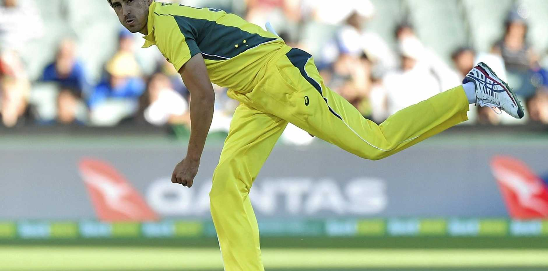 Mitchell Starc of Australia bowls against Pakistan earlier this year.