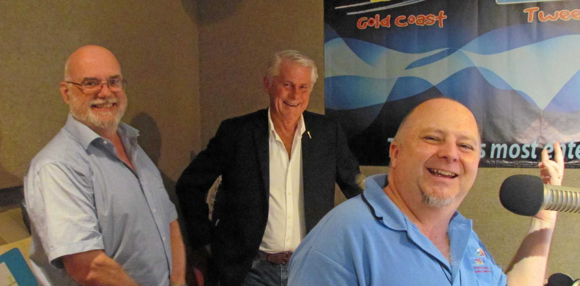 GOOD FUN: Radio 97 breakfast host Scott Mayman (right), fellow presenter Leon Delaney and Tweed MP Geoff Provest participating in the new 'Blankety Blanks' show.