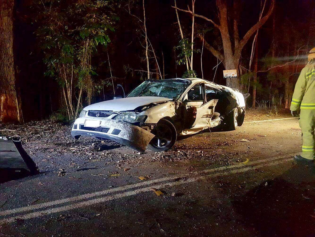 a 25-year-old passenger was killed when the car he was in ran off the road at a sweeping bend on Ilkley Rd, Eudlo on the Sunshine Coast and collided with a tree at about 8:30pm.