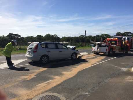 Emergency services attend a crash at the intersection of Boat Harbour Dr and Denmans Camp Rd, Scarness.