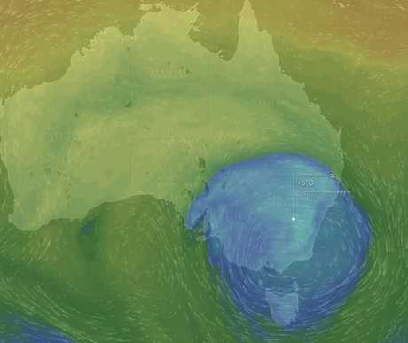 Modelling showing a cold front converging on south-east Australia.