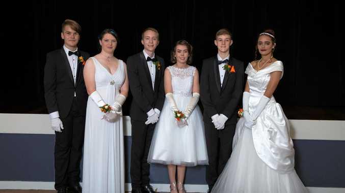 Kai Spencer, Monique Richards, Jake Mendezona, Morgan Kemp, Riley Chapman and Zahria Webb at the Moranbah Debutante Ball for 2017.