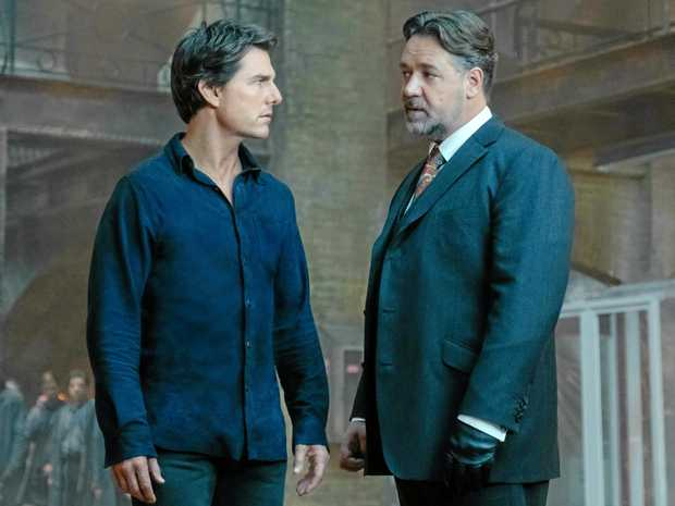 Tom Cruise and Russell Crowe in a scene from The Mummy.