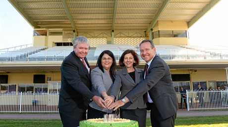 Ipswich Turf Club chairman Wayne Patch, Racing minister Grace Grace, Jennifer Howard MP and Jim Madden MP.