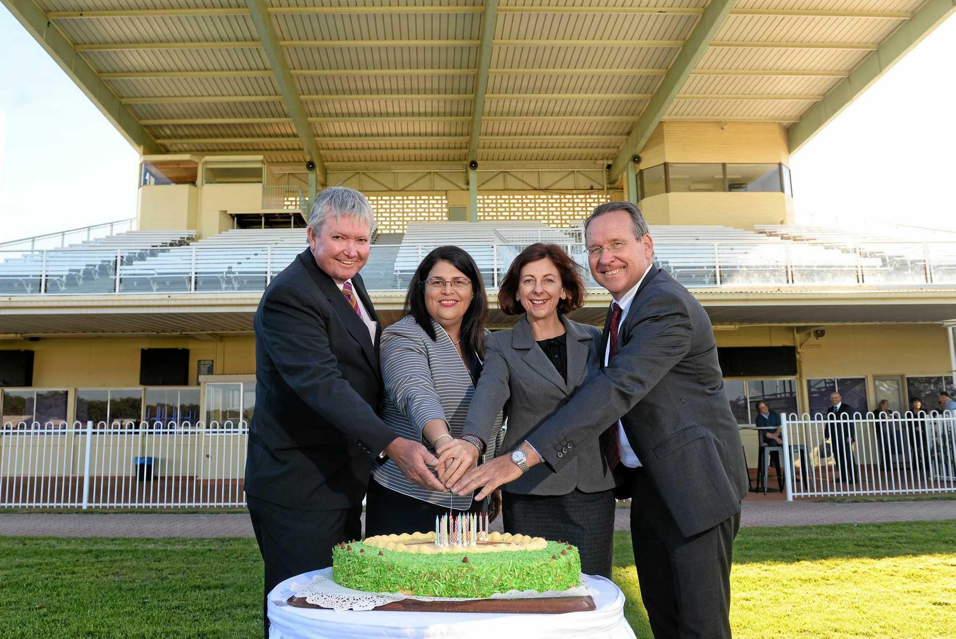 Ipswich Turf Club chairman Wayne Patch, Racing minister Grace Grace, Jennifer Howard MP and Jim Madden MP.