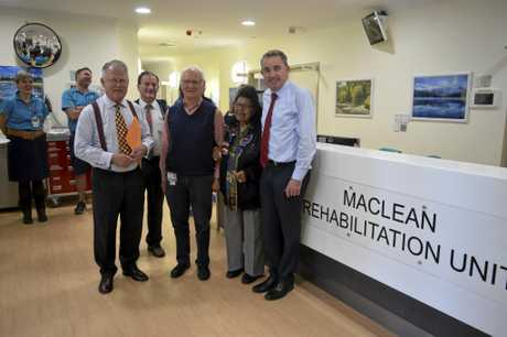 GRAND OPENING: Northern NSW Local Health District board chair Brian Pezzutti, Clarence Valley Council Mayor Jim Simmons, Dr Robin Mathews, Yaegl elder Murial Burns and Page MP Kevin Hogan at the official opening of the Maclean District Hospital Rehabilitation Unit.