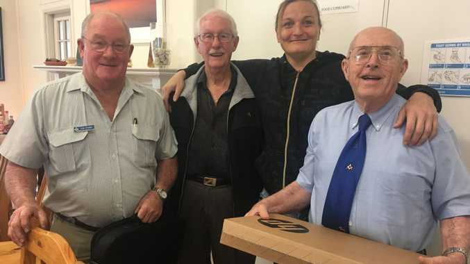 Darling Downs Masonic Lodge representatives Ian Parry, Maurice Howell and Ken Stephen with the new laptop for Sunrise Way.
