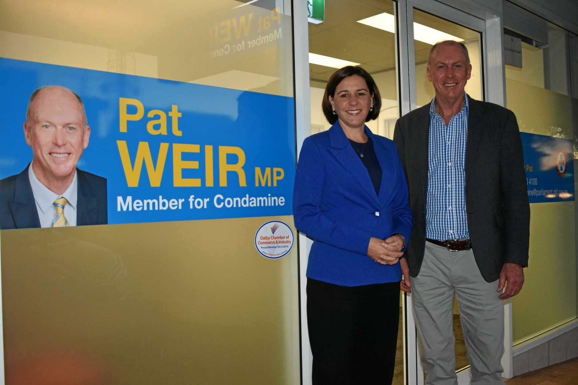 MEET AND GREET: Deputy Leader of the LNP and Member for Nanango, Deb Frecklington, with Member for Condamine, Pat Weir, in Dalby.