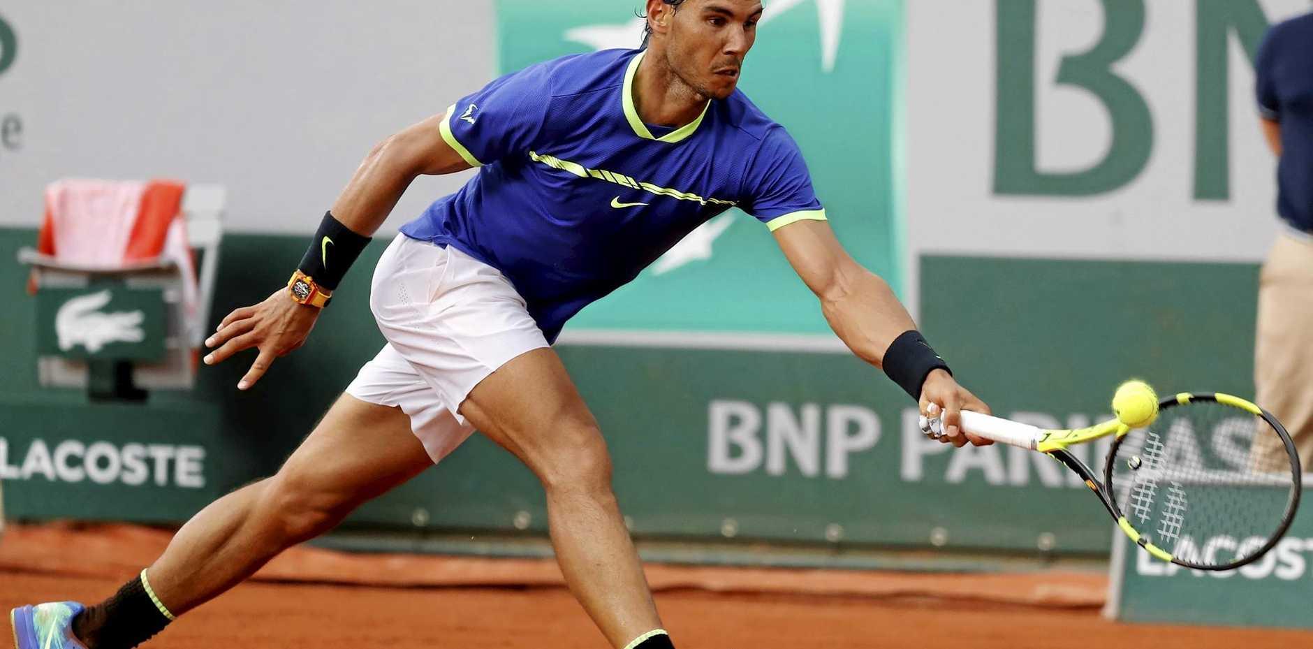 Rafael Nadal of Spain plays against Nikoloz Basilashvili of Georgia during the French Open.