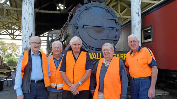 Some of the team looking to bring Warwick's infamous egg throwing incident back to life, from left, Ron Bellingham, Peter Gregory, Bob Amos, Bob Keogh and John Brady.