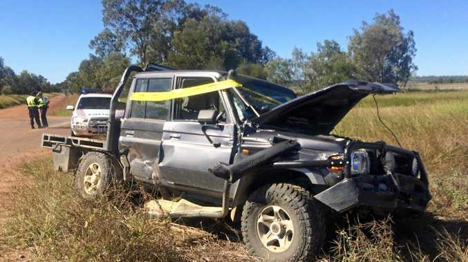 TOTALLED: The Landcruiser was left severely damaged in the crash.