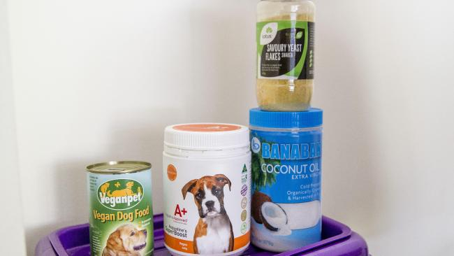 Her pups get a range of supplements, plus fresh fruit and veggies.