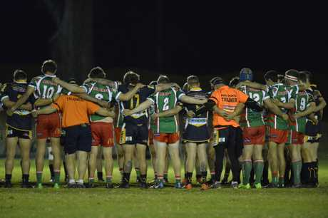 A minutes silence is observed to honour Brett Forte and Scott Kuhnemann before Highfields v Pittsworth in Hutchinson Builders TRL Premiership round 10 rugby league at Kuhls Rd Recreation Ground, Saturday, June 3, 2017.