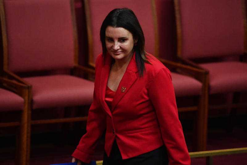 Tasmanian Senator Jacqui Lambie during Question Time in the Senate Chamber at Parliament House in Canberra, Tuesday, May 9, 2017.