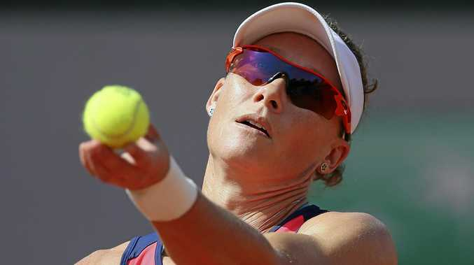 ON TRACK: Australia's Samantha Stosur knows a French Open title is beckoning but she has to beat a big-hitting Latvian on Sunday first.