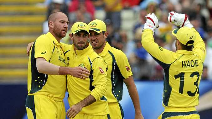 Glenn Maxwell (second left) wants to go on the attack against Bangladesh.