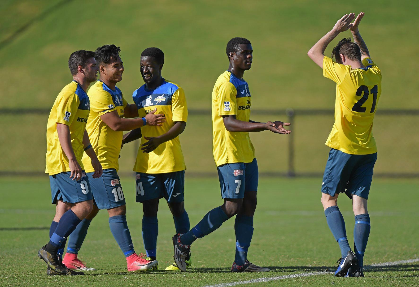 HIGH-FIVE: South-West Thunder celebrate their second goal against Sunshine Coast Fire.