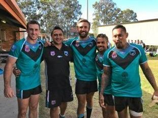 CENTRAL SUCCESS: Toowoomba rugby league representatives (from left) Matt Duggan, coach Eugene Seddon, Jason Wardrop, Corey Blades and Steve Franciscus in the Central team at the QRL Divisional Championships at Southport.