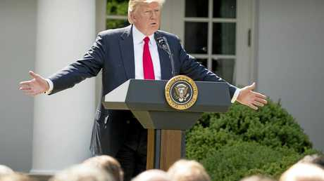 President Donald Trump speaks about the US role in the Paris climate change accord in the Rose Garden, Thursday, June 1, 2017, in Washington. (AP Photo/Andrew Harnik)
