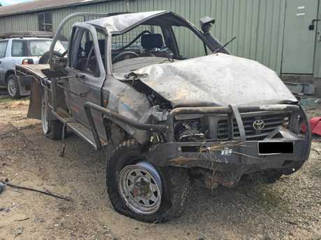 The mangled wreck of Jesse Robertson's car. He was driving on Maryborough-Biggenden Rd at the time of his crash. He was airlifted to hospital.
