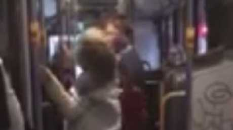 The woman, who was asked to leave the bus, can then be seen slapping the driver.