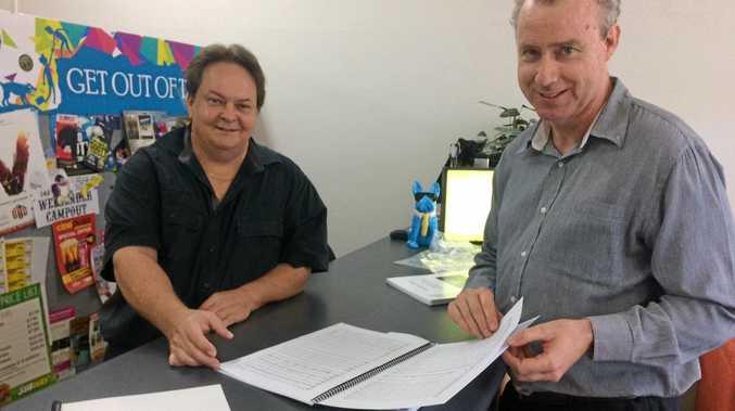 LOCAL EFFORT: Pop Up Press's Brendan Franklin with local composer David Pyke.