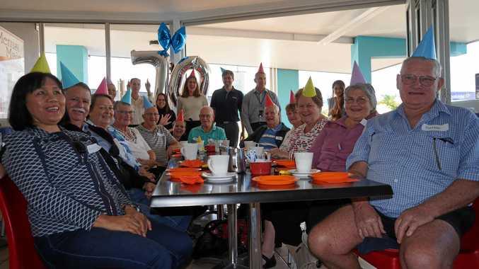 Clients with Hervey Bay Maryborough Australian Hearing, celebrating the company's 70th birthday on Thursday.