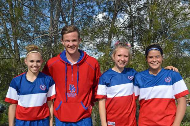 FOOTBALL SKILLS: Anika Spiller, Ben Rametta, Ellice Oreall and Brody Pearce played in the Under 19s Darling Downs Team in the state championships in May.