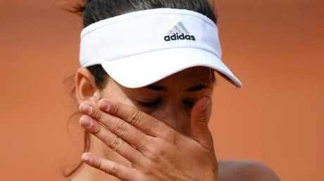 Garbine Muguruza fell to Kristina Mladenovic in three sets. Photo: AFP