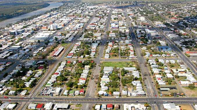 An aerial view of Rockhampton CBD.